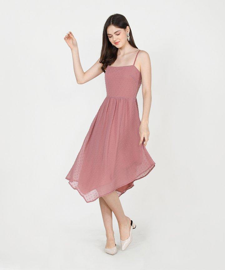 Chiara Textured Asymmetrical Midi Dress - Rose