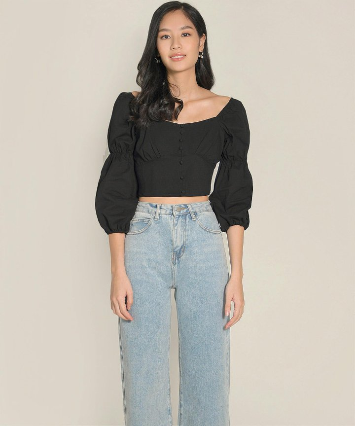 Citrus Cropped Top - Black