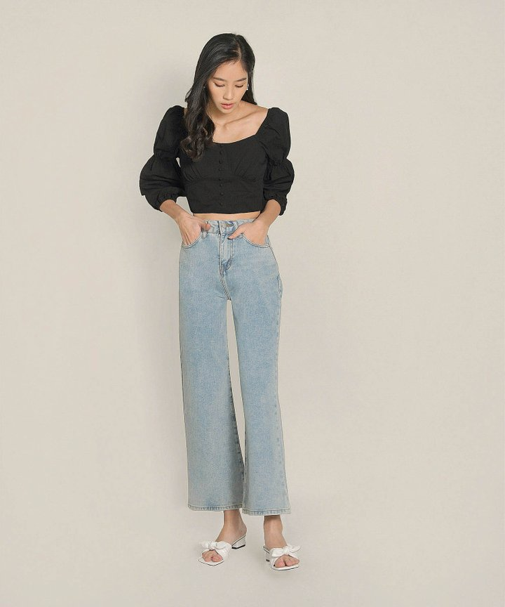 Peri Wide Leg Jeans - Light Blue