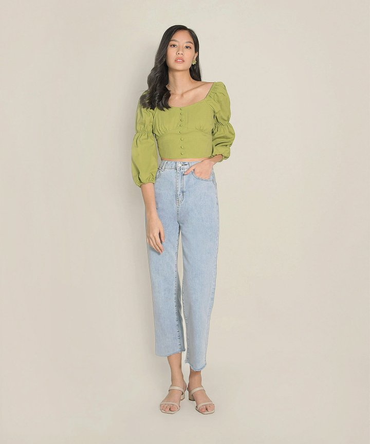 Citrus Cropped Top - Lime Green