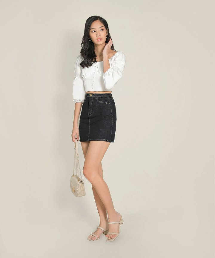 Ondine Contrast Stitch Denim Skirt