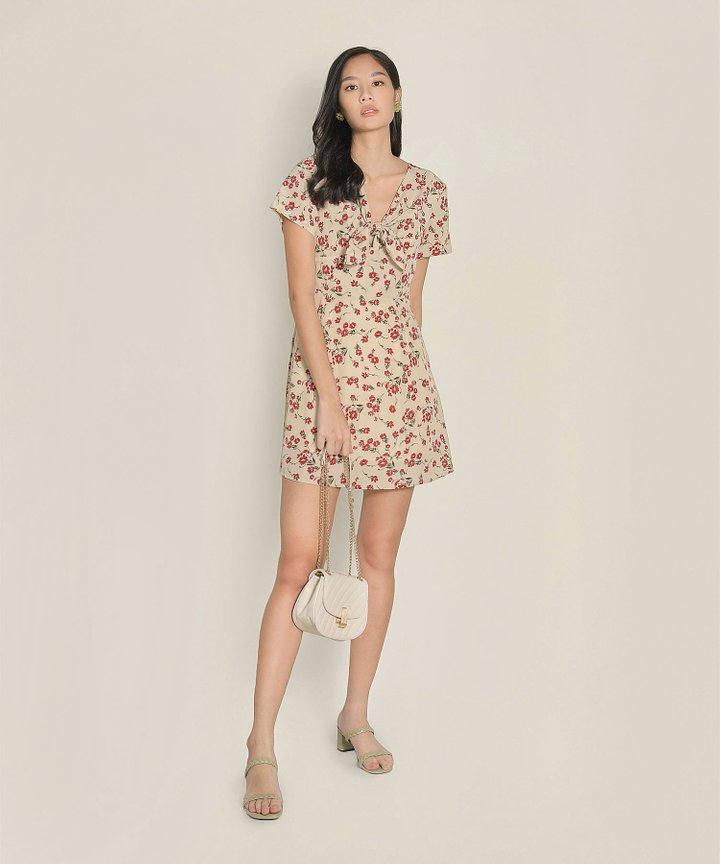 Clemence Floral Dress - Beige