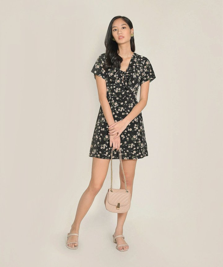 Clemence Floral Dress - Black