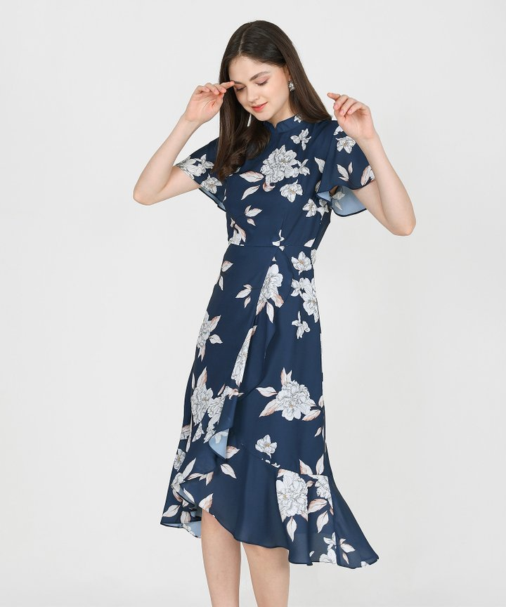 Coral Springs Floral Ruffle Midi Dress - Navy