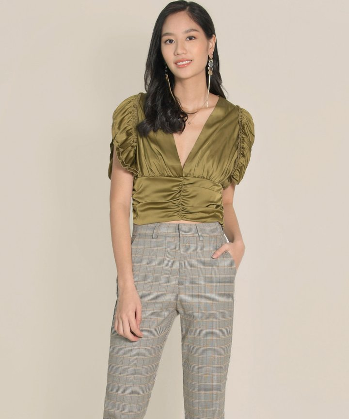 Devon Satin Ruched Top