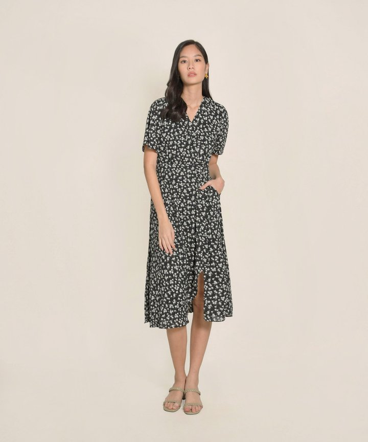Esmee Floral Overlay Midi Dress - Black
