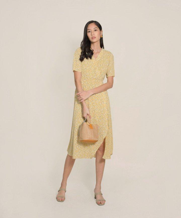 Esmee Floral Overlay Midi Dress - Daffodil