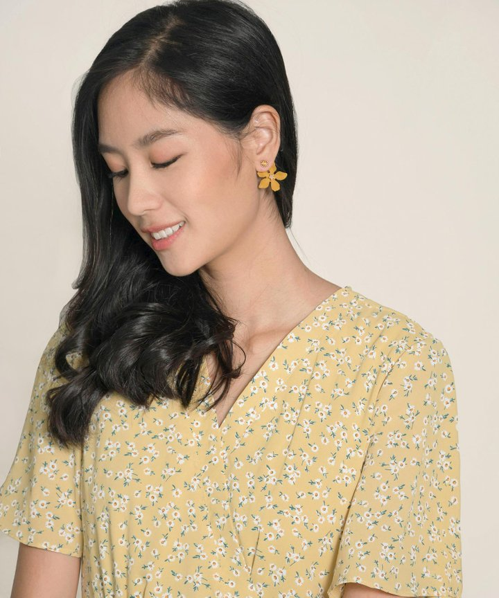 Pastures Floral Earrings - Mustard (Backorder)