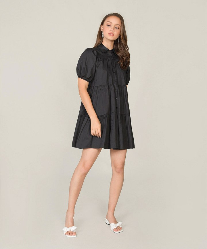 Frou Frou Babydoll Shirtdress - Black