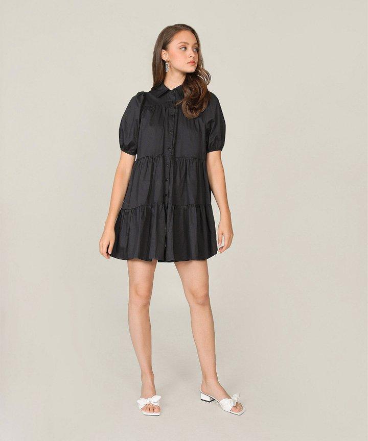 Frou Frou Babydoll Shirtdress - Black