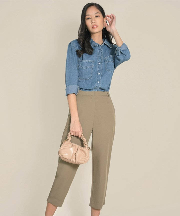 Belle Ame Cropped Pants Co-ord - Olive
