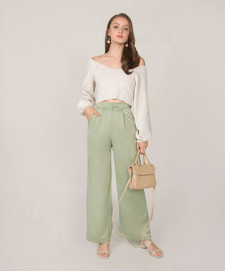 Gisele Satin Wide Leg Pants - Pistachio