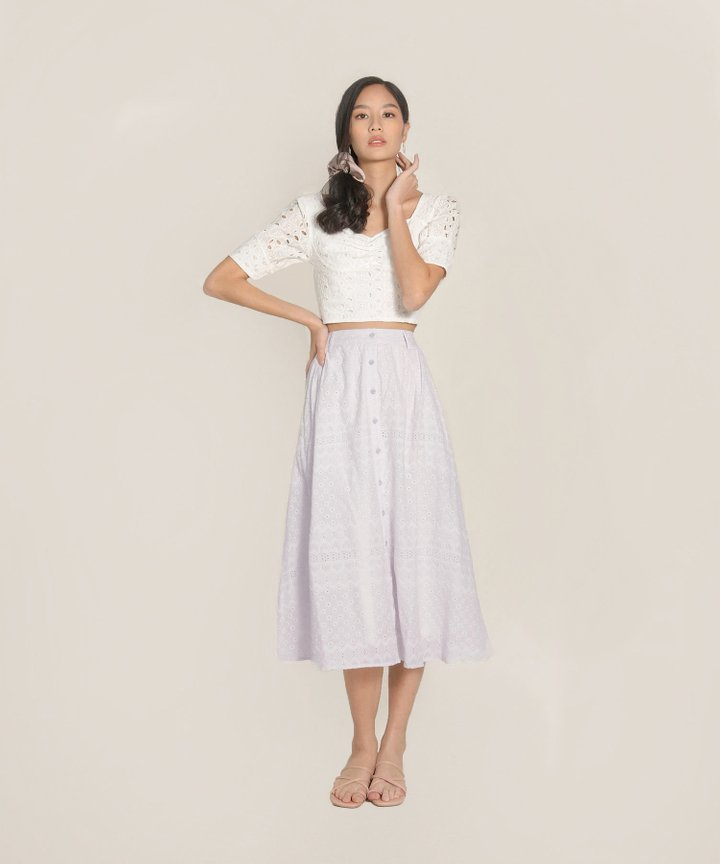 Helene Embroidered Midi Skirt - Lilac Hint