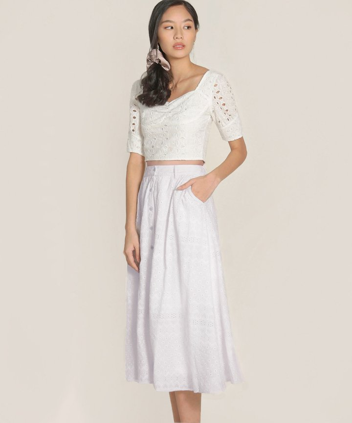 Helene Embroidered Midi Skirt - Lilac Hint
