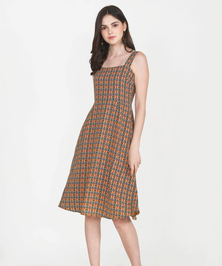 Maison Printed Midi Dress - Green