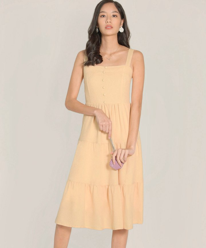 Maje Gathered Midi Dress - Daffodil