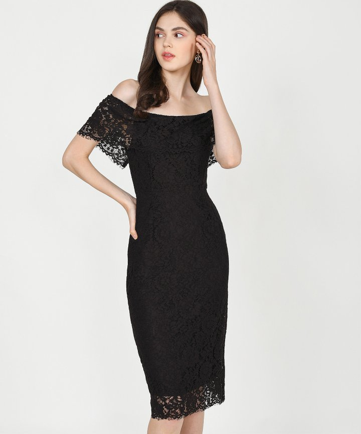 Marie Lace Off-Shoulder Midi Dress - Black