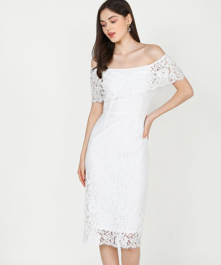 Marie Lace Off-Shoulder Midi Dress - White