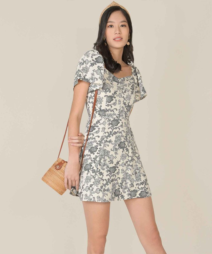 Marisol Paisley Floral Dress - Off-White