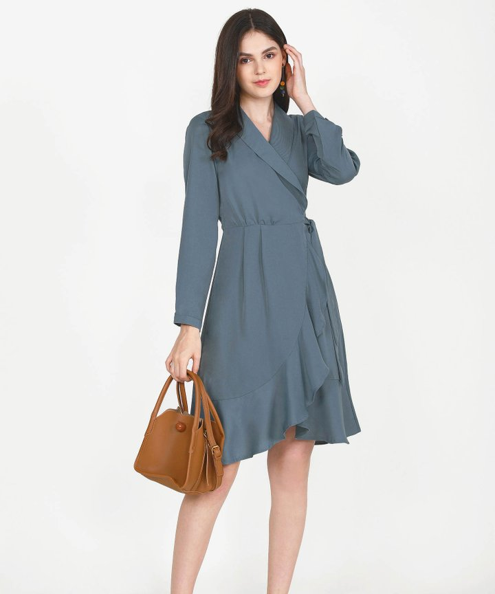 Melisse Wrap Midi Dress - Dust Turquoise