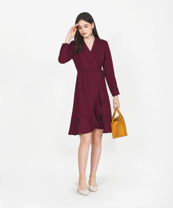 Melisse Wrap Midi Dress - Maroon