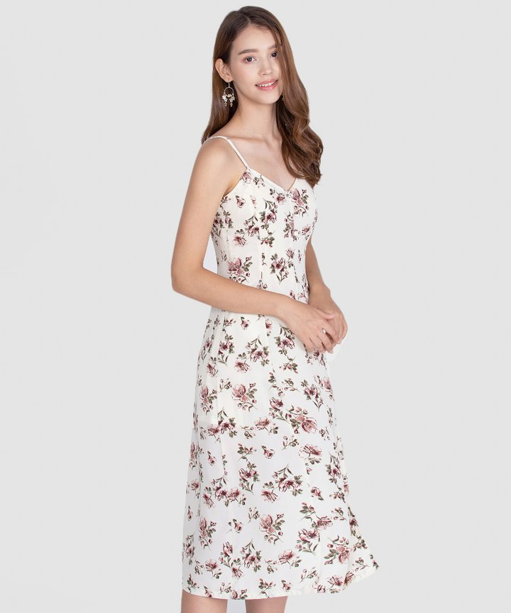 Melrose Floral Midi Dress - Off-White