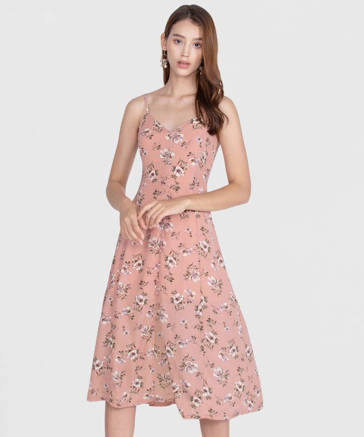 Melrose Floral Midi Dress - Rose Pink