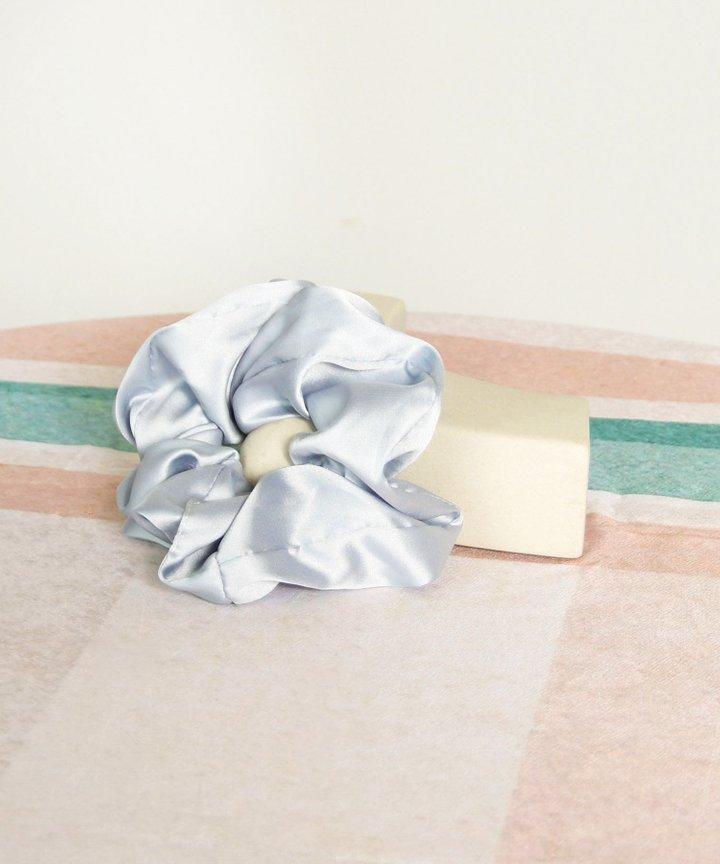 Moonlight Satin Scrunchie - Pale Blue (Restock)