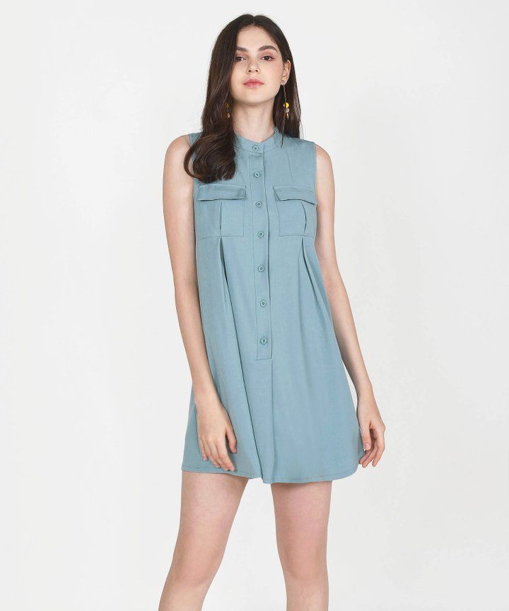 Olivier Chambray Shift Dress - Mist Blue