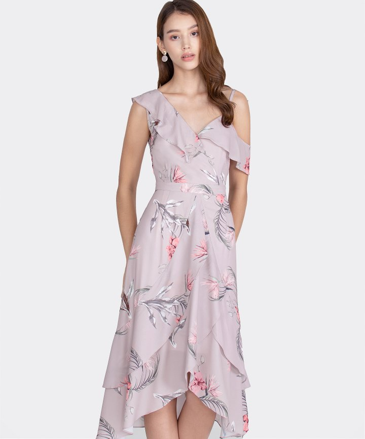 Paradis Floral Ruffle Maxi Dress - Pale Lavender