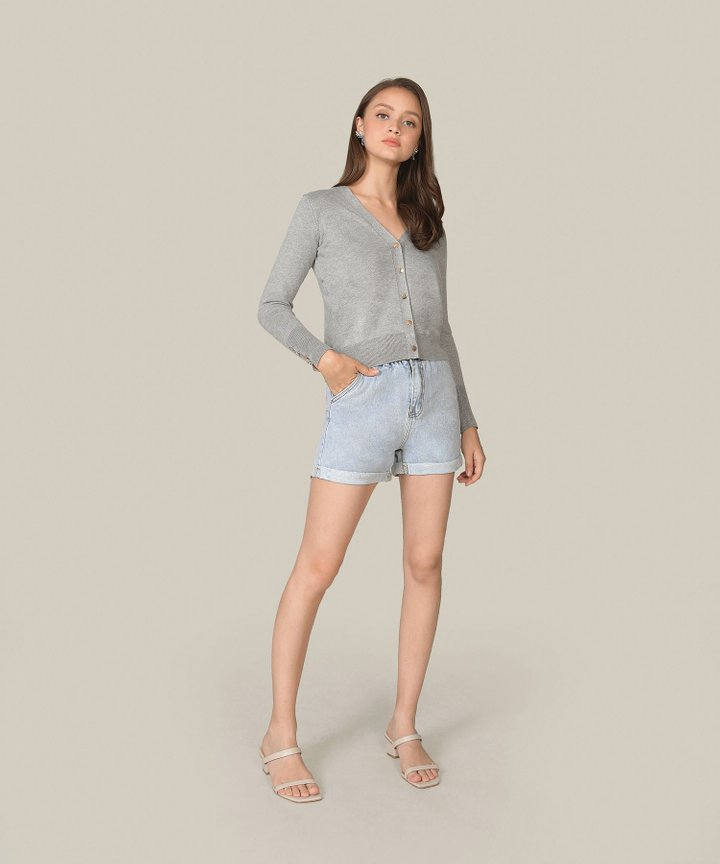 Picotin Cropped Cardigan - Grey