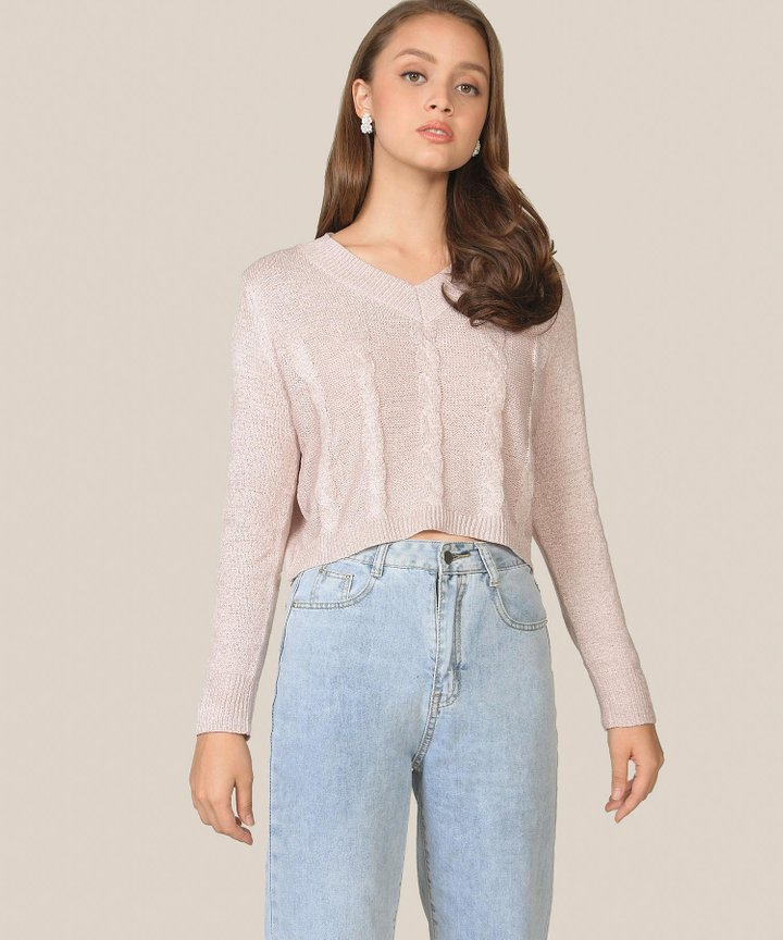 Poppy Knit Sweater - Rose Quartz