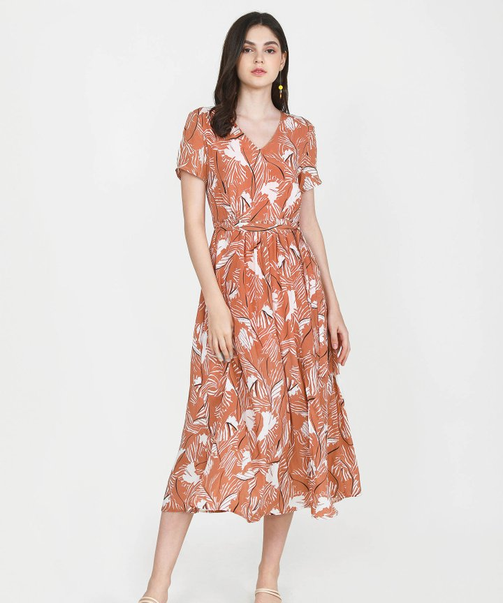 Quinn Printed Maxi Dress - Terracotta
