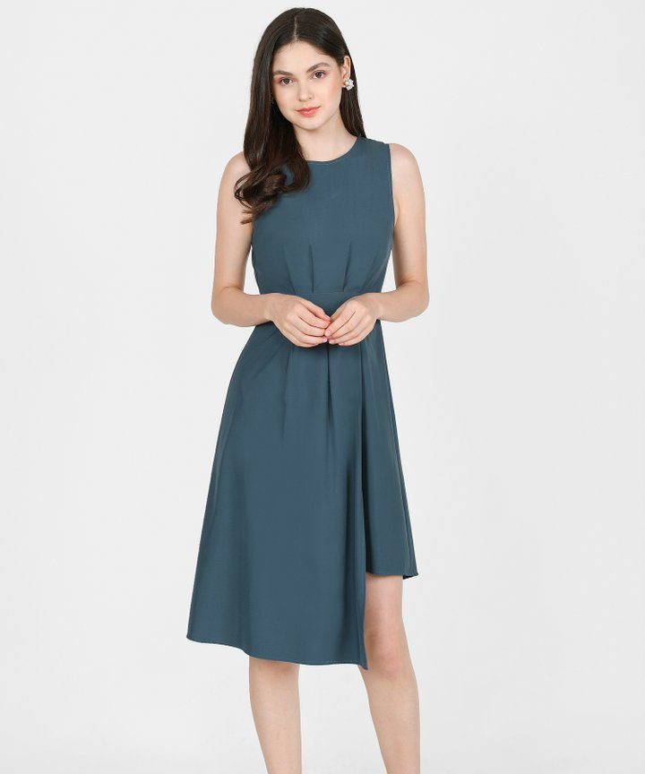 Saloni Asymmetrical Midi Dress - Dark Teal