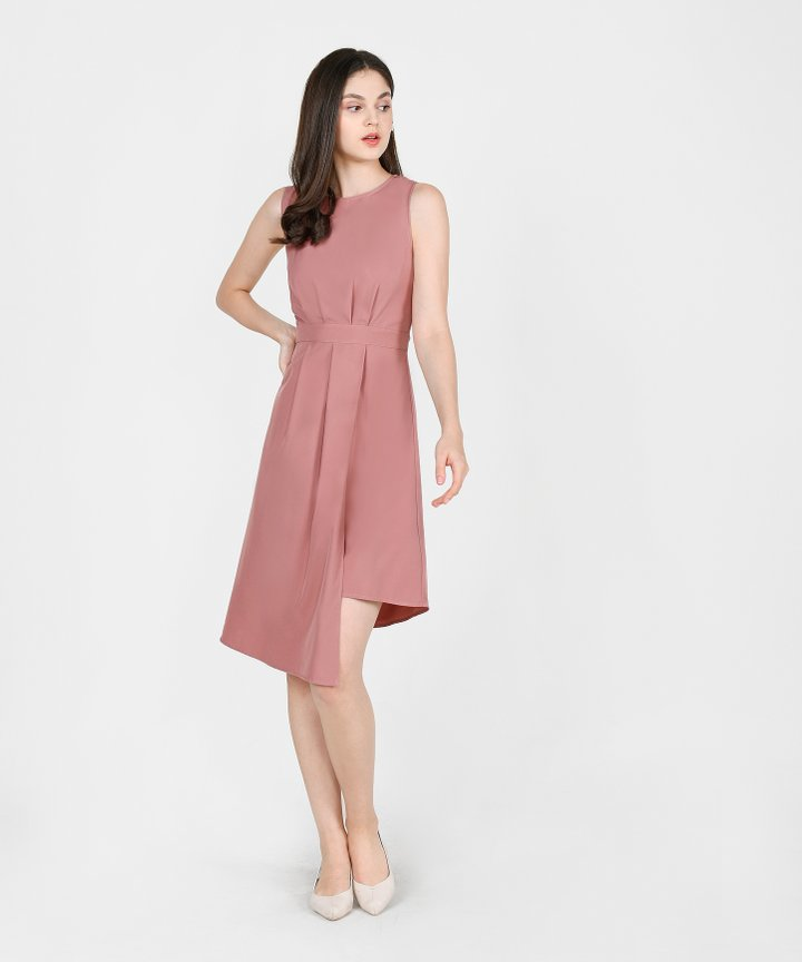 Saloni Asymmetrical Midi Dress - Dust Rose