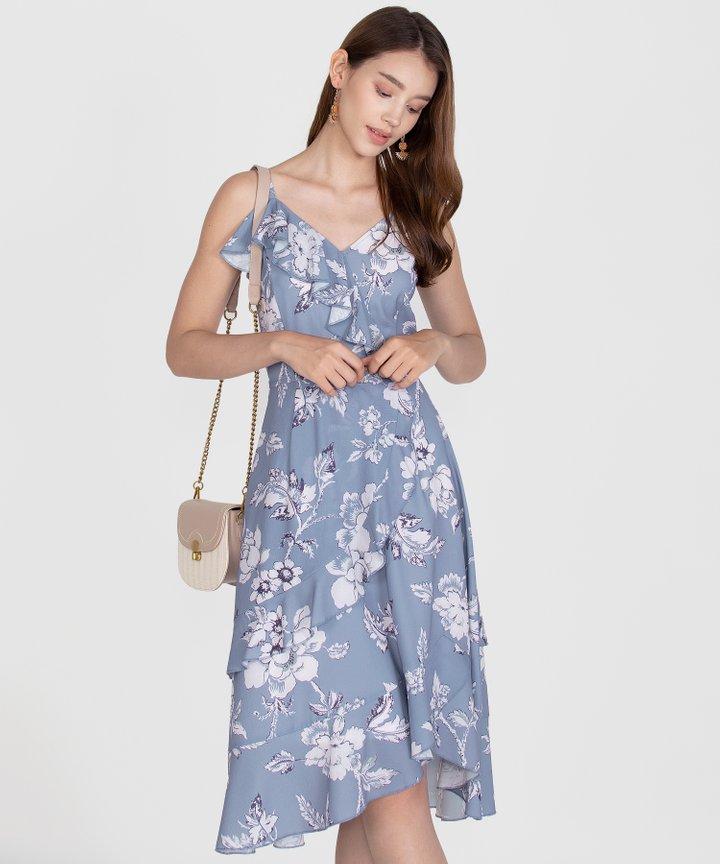 Savannah Printed Ruffle Midi Dress - Mist Blue