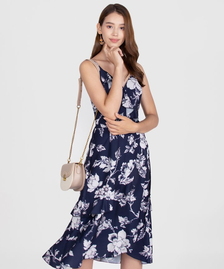 Savannah Printed Ruffle Midi Dress - Navy