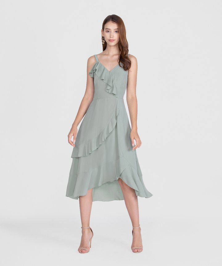 Savannah Ruffle Midi Dress - Sage