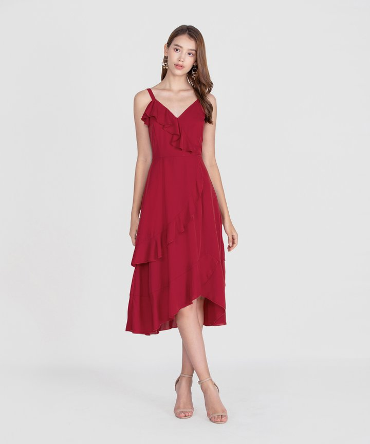 Savannah Ruffle Midi Dress - Scarlet