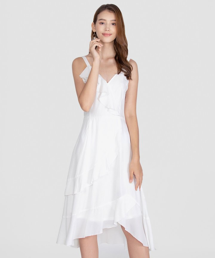 Savannah Ruffle Midi Dress - White