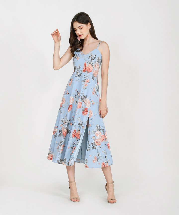 Tania Floral Maxi Dress - Sky Blue