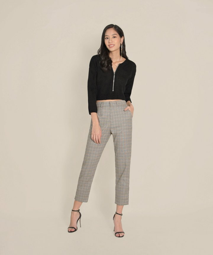 Tory Cropped Zip Sweater - Black (Restock)