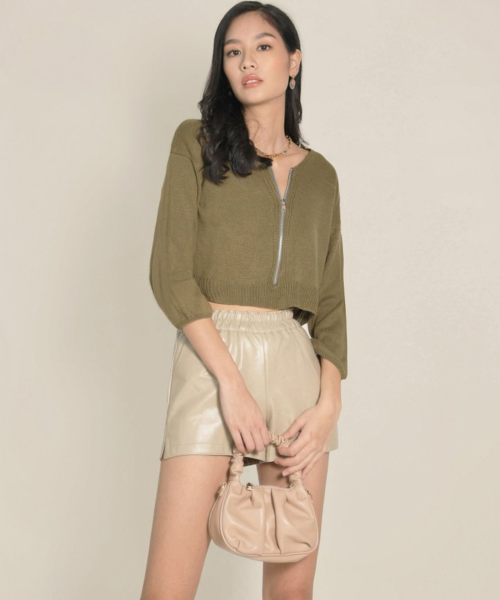 Tory Cropped Zip Sweater - Olive