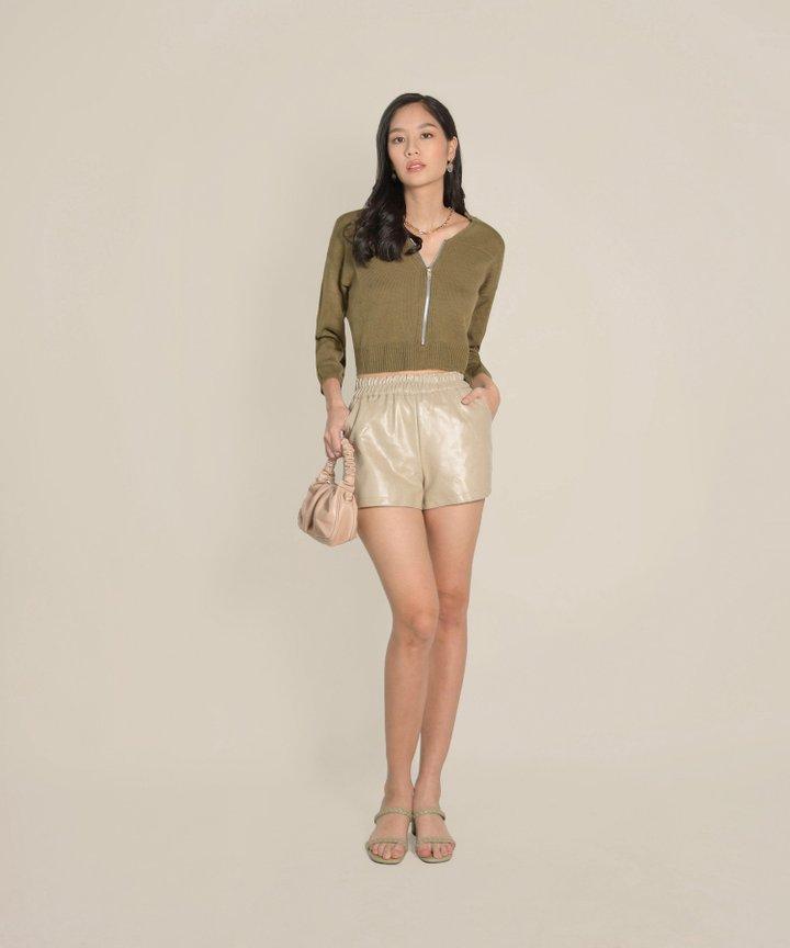 Sancerre Pleather Shorts - Beige