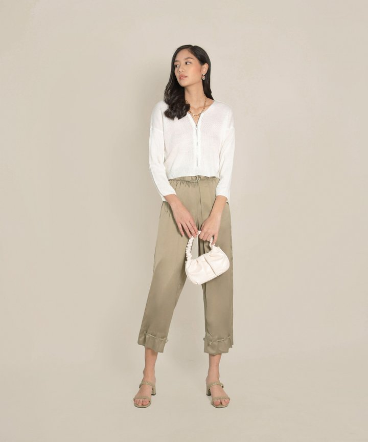 Tory Cropped Zip Sweater - White (Restock)