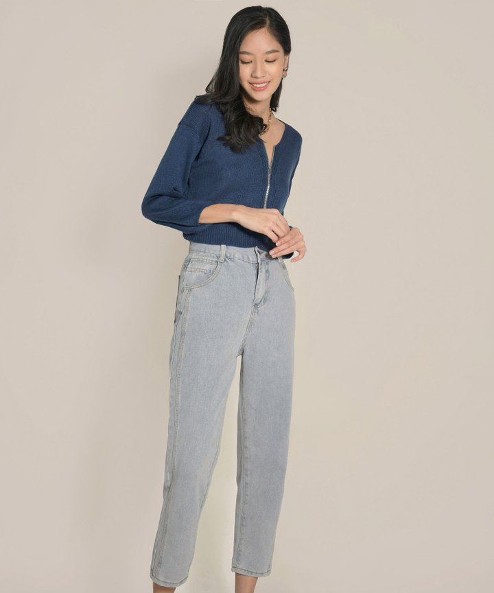 Tory Cropped Zip Sweater - Yale Blue