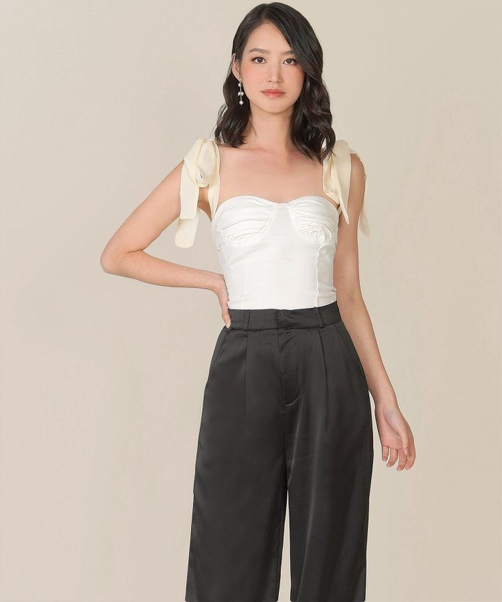 Apolline Ruched Bustier Top - Ivory