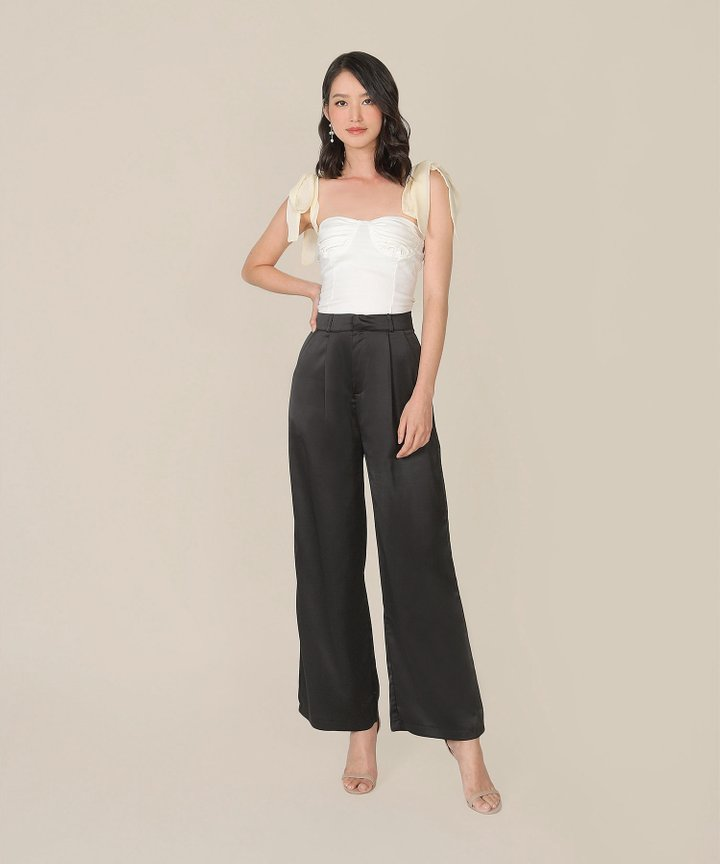 Gisele Satin Wide Leg Pants - Black