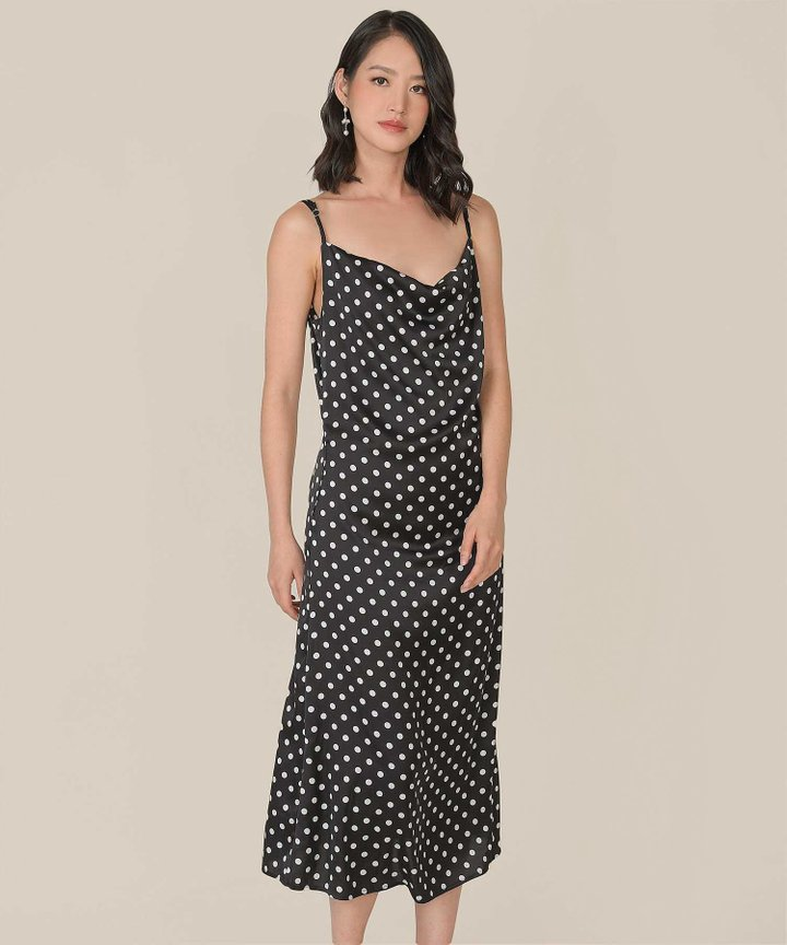 Berenice Polka Cowl-neck Midaxi Dress