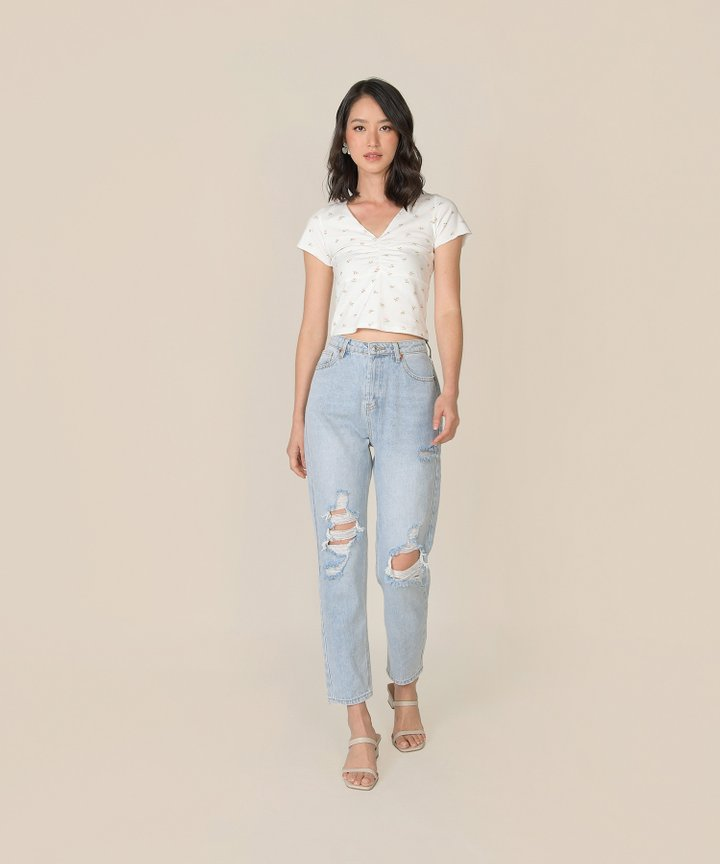 Blossom Floral Ruched Tee - White